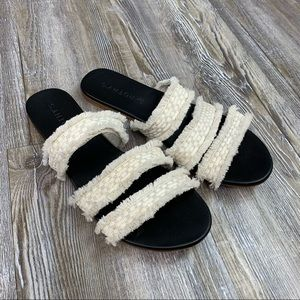 Rothy's Triple Band Cream Fringe Slide Sandal